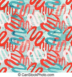 red white blue graffiti lines on a white background seamless pattern