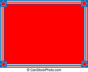 Red, White and blue patriotic frame or border with a striped and star background with copy space.