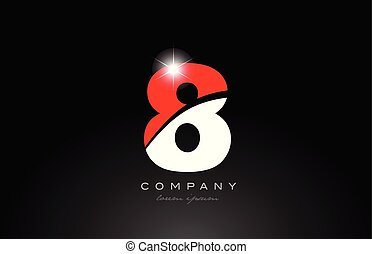 red white color number 8 for logo icon design
