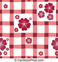 Red-white floral seamless pattern