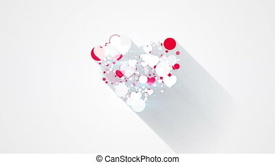 red white heart shape with long shadows loop animation - red...