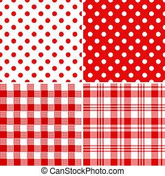red-white, mønstre, sæt, seamless, klassisk