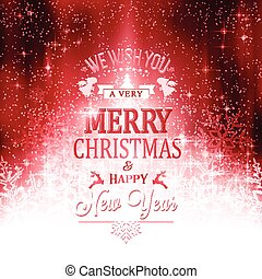 Red white Merry Christmas typography card with lights and snowflakes