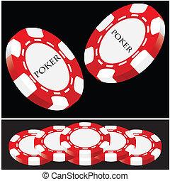 red-white, pôquer, vetorial, -, afortunado