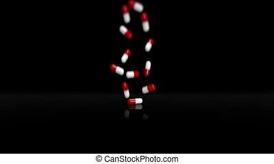 Red White Pills Falling  II