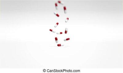 Red White Pills Falling