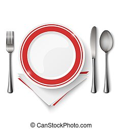 Red white plate with spoon knife and fork template