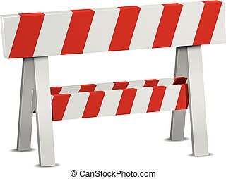 Red White Roadblock - detailed illustration of a red and ...