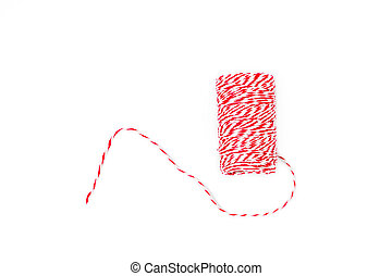 red white rope roll on white background