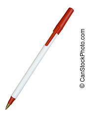 White School Ball Pen with Red Tip and Cap; Isolated, Path