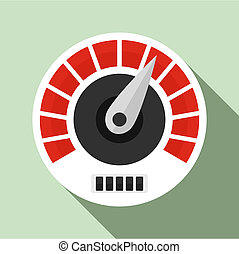 Red white speedometer icon, flat style