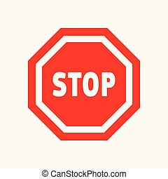 Red, white stop, attention, warning icon.