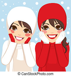 Red White Winter Friends - Two beautiful brunette women...