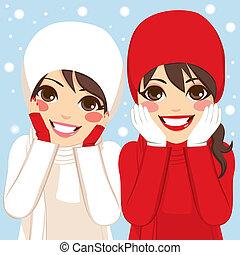 Red White Winter Friends - Two beautiful brunette women...