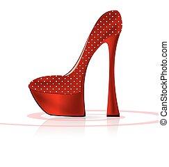 red-white, zapato
