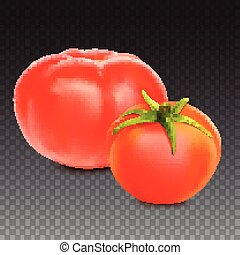 Red whole tomatoes isolated on transparent background, close-upwith a green tail. A fresh tomatoes cut out with the clipping path, 3D illustration