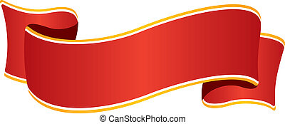 Red wide ribbon - Isolated red wide ribbon with golden...