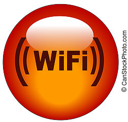 red wifi web button or icon - illustration