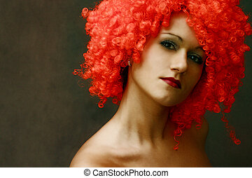 Red wig - Portrait in a red wig