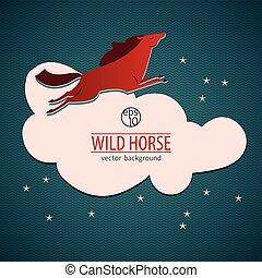 Red Wild Horse Emblem - Red wild horse emblem or sticker...