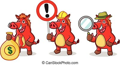 Red Wild Pig Mascot with money