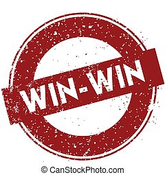 Red WIN WIN rubber stamp illustration on white background