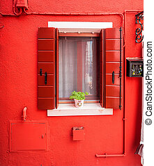 Red window in Burano