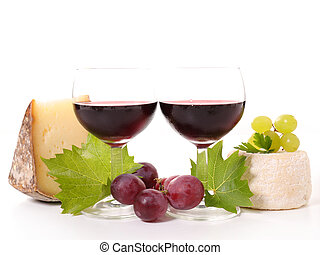 red wine and cheese isolated