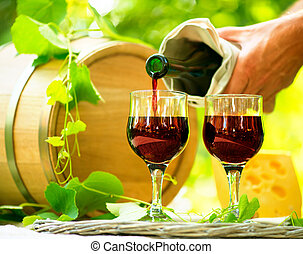 Red Wine and Cheese. Romantic Lunch Outdoor