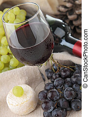 red wine and grape