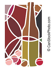 Red Wine and Grapes - Stylised illustration of a bottle of...