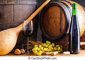 Red wine and wooden barrels
