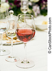 red wine at restaurant
