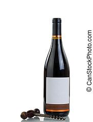 Red Wine bottle and antique corkscrew isolated on white background with reflection