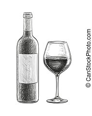 Red wine. bottle and glass