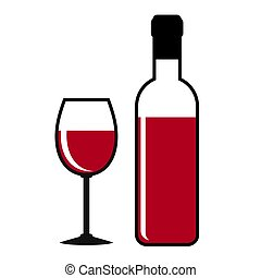 red wine bottle and glass on white, stock vector illustration