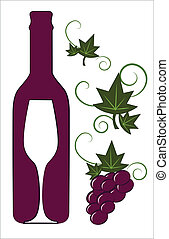 Red wine bottle and glass with floral deco elements