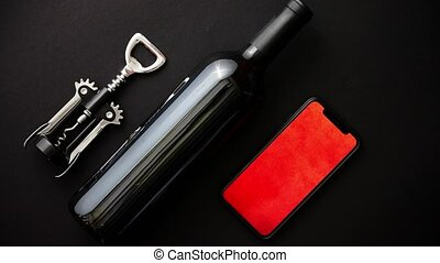 Red wine bottle, corkscrew and boxed christmas gift - Red...