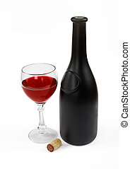 Red wine bottle, glass of wine and stopper on a white...