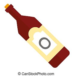 Red wine bottle icon isolated on white background. Vector illustration.