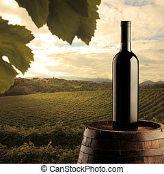 red wine bottle on wodden barrel, vineyard on background