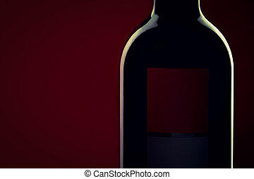 Red Wine bottle silhouette on red black background