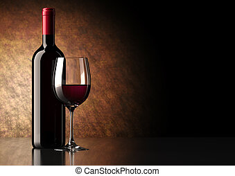 Bottle of red wine with dark glass on bottom and top reflective.