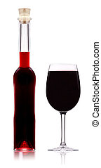 Red wine bottle with glass isolated