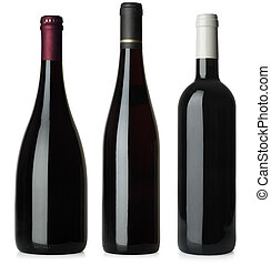 Three merged photographs of different shape red wine bottles. Separate clipping paths for each bottle included.
