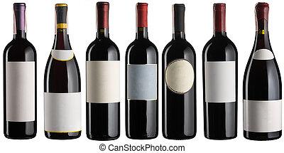 Red wine bottles set