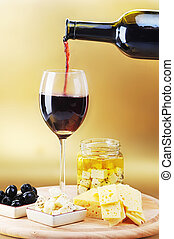 Red wine cheese and olives