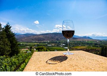 red wine glass against vineyard fields
