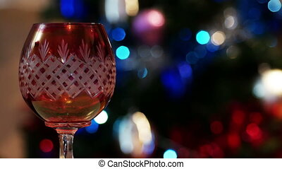 Red Wine Glass and bokeh Lights