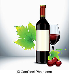 Red wine glass and bottle - Red wine bottle and filled glass...